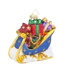 RADKO 1017763 THE GIVING SLEIGH - BRILLIANT TREASURE - SLEIGH FULL OF GIFTS ORNAMENT - NEW 2015 (15-8)