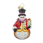 RADKO 1017765 DAPPER DAN - BRILLIANT TREASURE - SNOWMAN WITH GIFT ORNAMENT - NEW 2015 (15-9)
