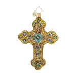 RADKO 1017773 BYZANTINE EMBLEM - RELIGIOUS - JEWELED CROSS ORNAMENT - NEW 2015 (15-9)