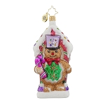 RADKO 1017775 SWEET GUARD - GINGERBREAD MAN WITH CANDY CANE ORNAMENT - NEW 2015 (15-9)