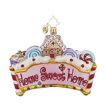RADKO 1017776 HOME SWEET HOME - GINGERBREAD HOUSE & CANDY ORNAMENT - NEW 2015 (15-9)