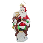 RADKO 1017808 DEER COMPANION - SANTA RIDING REINDEER ORNAMENT - NEW 2015 (15-10)