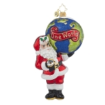 RADKO 1017814 A GLOBAL GENT - SANTA HOLDING THE WORLD ORNAMENT - NEW 2015 (15-)