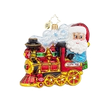 RADKO 1017843 NORTH POLE EXPRESS - SANTA DRIVING TRAIN ORNAMENT - NEW 2015 (15-10)