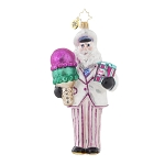 RADKO 1017849 THIS SCOOP'S FOR YOU - SANTA WITH ICE CREAM CONE ORNAMENT - NEW 2015 (15-11)