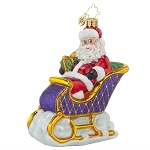 RADKO 1017852 SLEIGHRIDIN' SANTA - BRILLIANT TREASURES - SANTA IN PURPLE SLEIGH ORNAMENT - NEW 2015 (15-11)