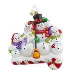 RADKO 1017853 SNOW-ONE LIKE FAMILY! - SNOWMAN FAMILY OF 4 ON CANDY CANE ORNAMENT - NEW 2015 (15-11)