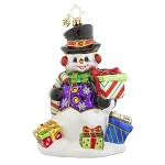 RADKO 1017854 SNOW DRIFT GIFTS - SNOWMAN WITH CANDY CANE & GIFTS ORNAMENT - NEW 2015 (15-11)
