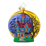 RADKO 1017857 HALLOWEEN CHATEAU - HALLOWEEN - 2 SIDED CRESCENT MOON & HAUNTED HOUSE ORNAMENT - NEW 2015 (H6)