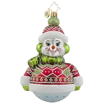 RADKO 1017858 DRESSED TO CHILL - 2 SIDED SNOWMAN ORNAMENT - NEW 2015 (15-11)