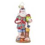 RADKO 1017861 SUMMERTIME DREAMS - SANTA IN HAWAIIAN SHIRT AT THE BEACH ORNAMENT - NEW 2015 (15-11)