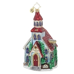 RADKO 1017864 WINTER WORSHIP - RELIGIOUS - RED ROOF CHURCH ORNAMENT - NEW 2015 (15-11)
