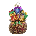 RADKO 1017874 SATIN STUNNER - ELEGANT JEWELED BAG OF GIFTS ORNAMENT - NEW 2015 (15-11)