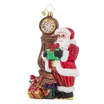 RADKO 1017877 IN TIME FOR CHRISTMAS - SANTA & GRANDFATHER CLOCK ORNAMENT - NEW 2015 (15-12)