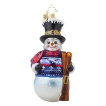 RADKO 1017883 ALPINE DELIGHT - SNOWMAN WITH SNOW SKIS ORNAMENT - NEW 2015 (15-12)
