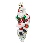 RADKO 1017892 TAKE OFF! - FLYING SANTA WITH JET PACK ORNAMENT - NEW 2015 (15-12)
