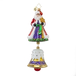 RADKO 1017894 BELL CHIME NICHOLAS - SANTA WITH JEWELED BELL ORNAMENT - NEW 2015 (15-12)