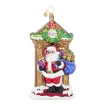 RADKO 1017902 KNOCK, KNOCK NICK! - SANTA AT THE FRONT DOOR ORNAMENT - NEW 2015 (15-12)