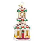 RADKO 1017921 BLESSED UNION - RELIGIOUS - CHURCH WITH CLOCK TOWER ORNAMENT - NEW 2015 (15-13)