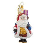 RADKO 1017942 CHUBBY CLAUS DELIVERY - SANTA WITH A BAG OF GIFTS ORNAMENT - NEW 2015 (15-14)