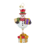 RADKO 1017949 FROSTY'S FAVORITES - SNOWMAN WITH GIFT DANGLE ORNAMENT - NEW 2015 (15-14)