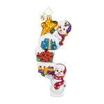 RADKO 1017950 SNOW STACK ON HIGH - 2 SNOWMEN & GIFTS ORNAMENT - NEW 2015 (15-14)