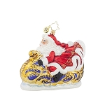 RADKO 1017963 SPEED OF SOUND NICK - SANTA IN RACING SLEIGH ORNAMENT - NEW 2015 (15-14)