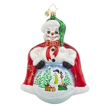 RADKO 1018012 FROSTY SCENE - SNOWMAN WITH PAINTED SCENE ORNAMENT - NEW 2015 (15-15)