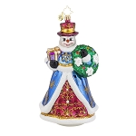 RADKO 1018026 ELEGANT ENTRANCE - SNOWMAN WITH WREATH ORNAMENT - NEW 2015 (15-16)
