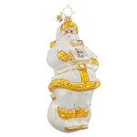 RADKO 1018031 SATIN SANDRA JEAN - DESIGNER FOR A DAY - SANTA WITH LIST ORNAMENT - NEW 2015 (15-16)