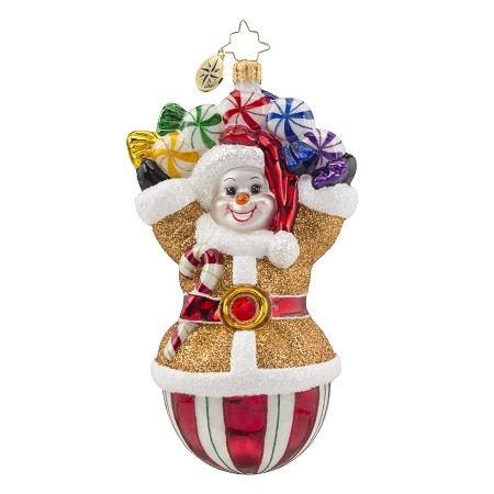 RADKO 1018129 CANDY GALORE - GINGERBREAD SNOWMAN WITH CANDY ORNAMENT - NEW 2016 (16-3)