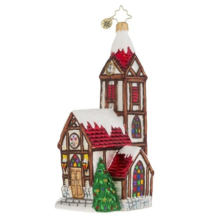RADKO 1018132 VALLEY HIGH CHURCH - SNOW COVERED RED ROOF CHURCH ORNAMENT - NEW 2016 (16-3)