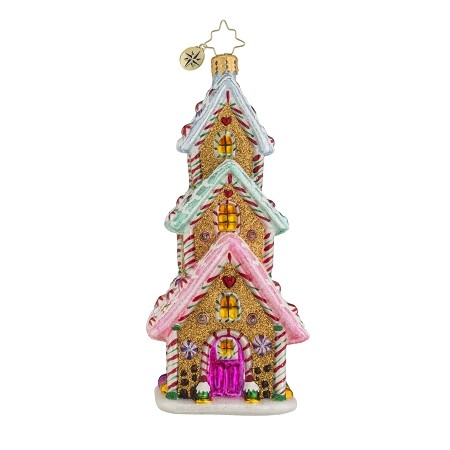 RADKO 1018134 TASTY TRIPLE DECKER - GINGERBREAD HOUSE ORNAMENT - NEW 2016 (16-3)