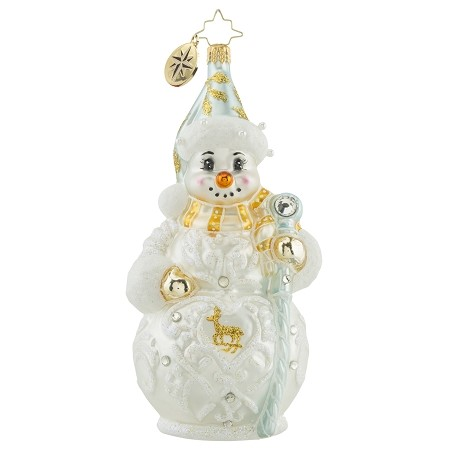 RADKO 1018150 PEARLY WHITE WANDERER - JEWELED SNOWMAN WITH PEARLS ORNAMENT - NEW 2016 (16-4)