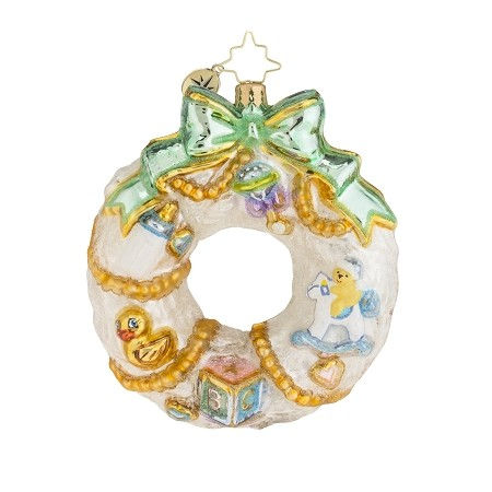 RADKO 1018151 A WINTERY WELCOME - NEW BABY WREATH ORNAMENT - NEW 2016 (16-4)