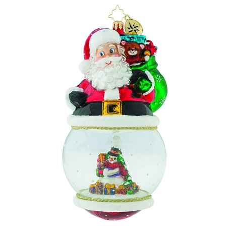 RADKO 1019158 LOOK WHO'S ON TOP - LIMITED EDITION OF 672 - SNOWMAN IN DOMED SANTA ORNAMENT - NEW 2018 (18-1)