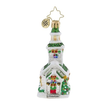 RADKO 1019194 SILVER STEEPLE GEM - SNOW COVERED GREEN ROOF CHURCH ORNAMENT - NEW 2018 (26-5)