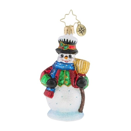 RADKO 1019200 DICKENSIAN SNOWMAN GEM - SNOWMAN WITH BROOM ORNAMENT - NEW 2018 (26-5)