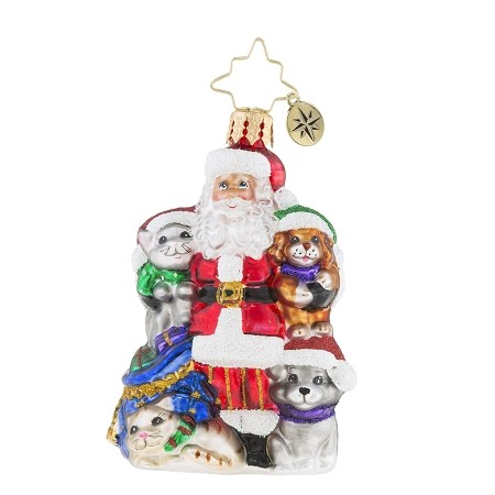 RADKO 1019202 PAW FOR CLAUS GEM - SANTA WITH CATS AND DOGS ORNAMENT - NEW 2018 (26-6)