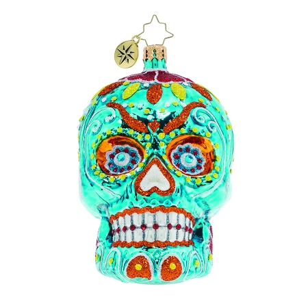 RADKO 1020069 SPOOKY LA CALAVERA - BLUE - HALLOWEEN - DAY OF THE DEAD - SKULL ORNAMENT - NEW FOR 2019 (H9)