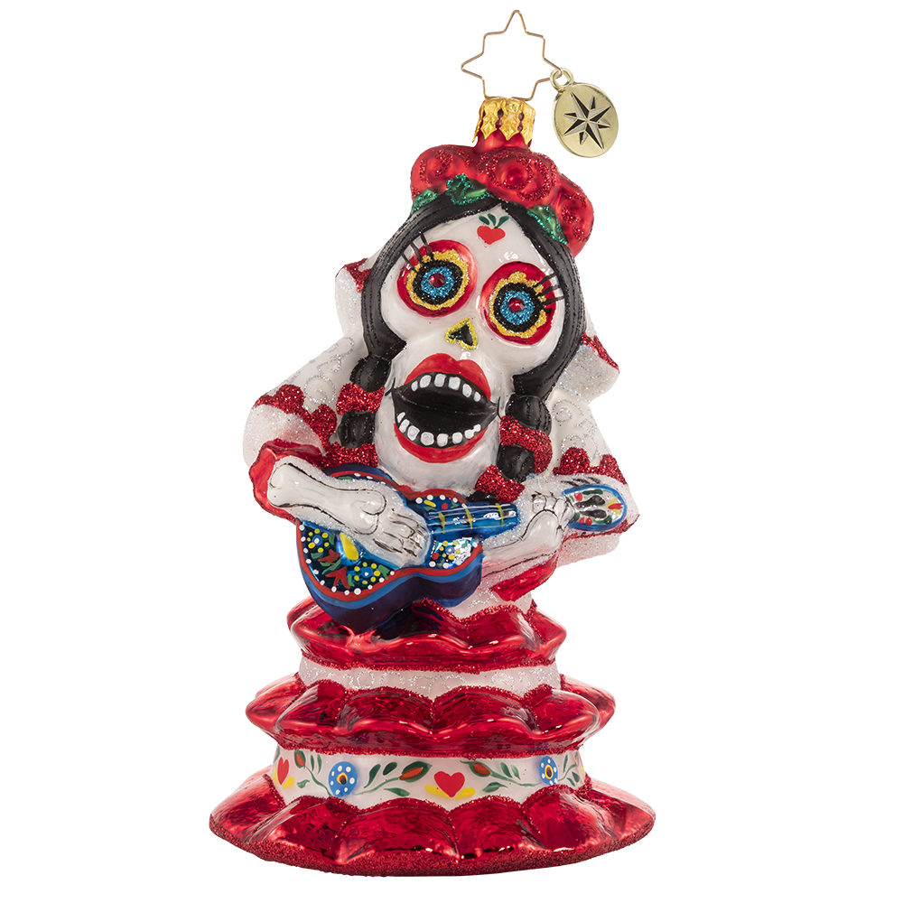RADKO 1020707 SPOOKY LA CATRINA - HALLOWEEN - DAY OF THE DEAD WITH LADY PLAYING GUITAR ORNAMENT - NEW 2021 (H10)