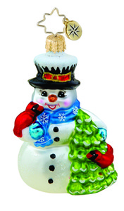 RADKO 1015630 EVERGREEN FRIENDS GEM - SNOWMAN & CARDINALS - NEW 2011 (19)