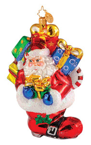 RADKO 1014403 PERFECT FIT - SANTA - SNOWMAN - 2 SIDED BOOT STOCKING - PRESENTS - RETIRED ORNAMENT (Q8)