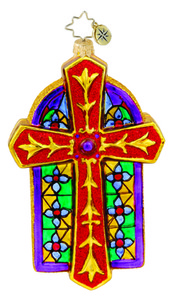 RADKO 1015425 CHAPEL LUMINANCE - CROSS WITH STAINED GLASS ORNAMENT - NEW 2011 (11-6)