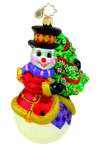 RADKO 1015438 HOLIDAY HUGGER - SNOWMAN WITH TREE ORNAMENT - NEW 2011 (11-8)