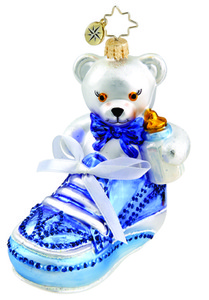 RADKO 1015533 BABY BOOTIE BEAR BOY - BLUE BOOTIE WITH BEAR ORNAMENT - NEW 2011 (11-11)