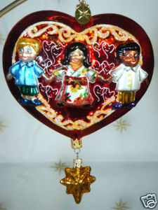 RADKO 3011640 PETRA'S HEART WITH STAR DANGLE - CHARITY - RETIRED ORNAMENT (N1)