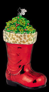 RADKO 1011790 HOLLY BERRY BOOT - LEOPARD - RETIRED ORNAMENT (HH)