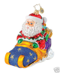 RADKO 1014815 ALPINE SLEIGH AWAY - SANTA DRIVING SLED - RETIRED ORNAMENT (Q2)