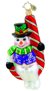RADKO 1015657 PEPPERMINT PERCH - SNOWMAN SITTING ON CANDY CANE ORNAMENT - NEW 2011 (11-13)